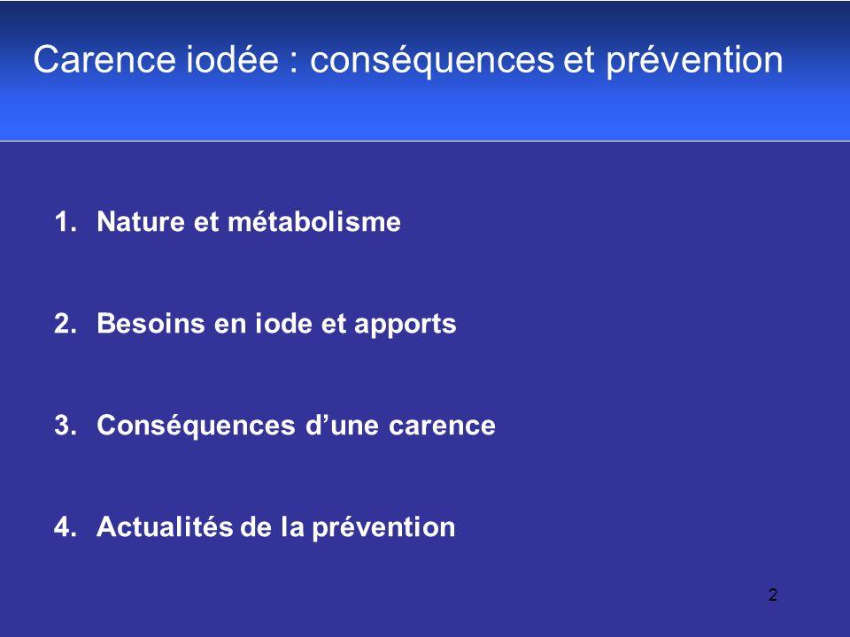 2 Carence iodée : conséquences et prévention 1.Nature et métabolisme 2.Besoins en iode et apports 3.Conséquences dune carence 4.Actualités de la préve