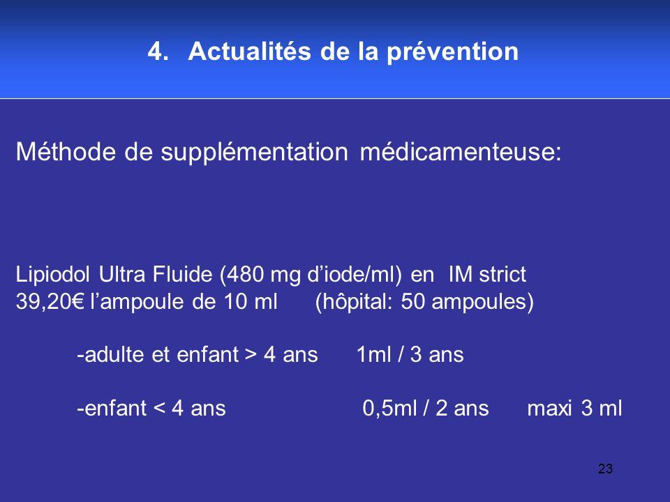 23 4. Actualités de la prévention Méthode de supplémentation médicamenteuse: Lipiodol Ultra Fluide (480 mg diode/ml) en IM strict 39,20 lampoule de 10