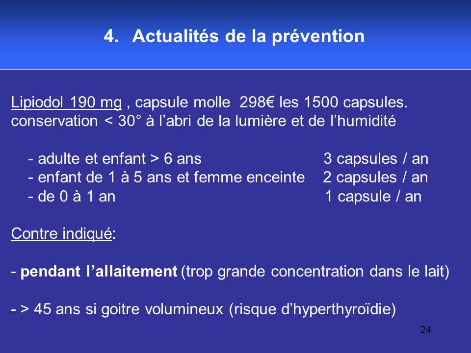 24 4. Actualités de la prévention Lipiodol 190 mg, capsule molle 298 les 1500 capsules. conservation < 30° à labri de la lumière et de lhumidité - adu