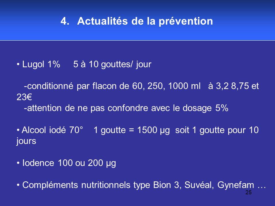 25 4. Actualités de la prévention Lugol 1% 5 à 10 gouttes/ jour -conditionné par flacon de 60, 250, 1000 ml à 3,2 8,75 et 23 -attention de ne pas conf