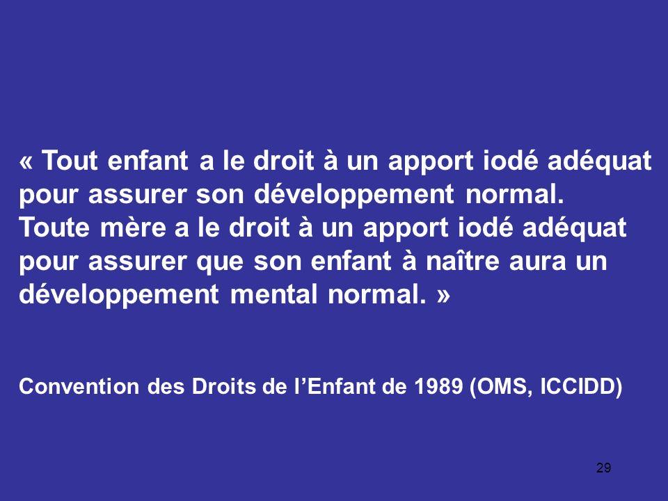 29 « Tout enfant a le droit à un apport iodé adéquat pour assurer son développement normal. Toute mère a le droit à un apport iodé adéquat pour assure