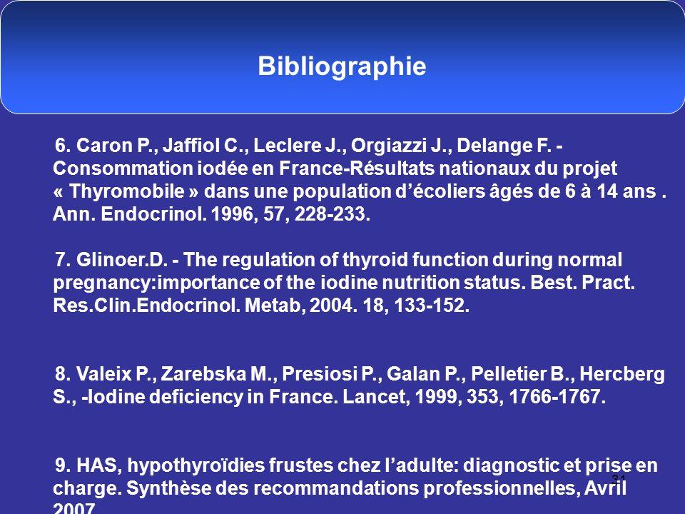 31 Bibliographie 6. Caron P., Jaffiol C., Leclere J., Orgiazzi J., Delange F. - Consommation iodée en France-Résultats nationaux du projet « Thyromobi