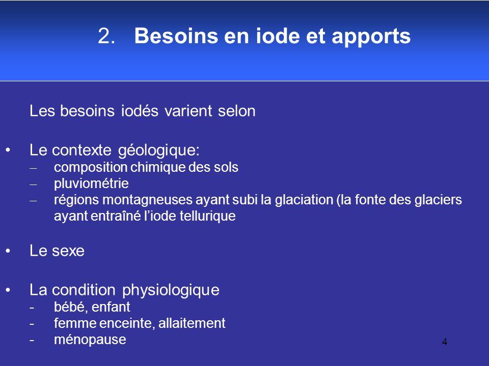 4 2. Besoins en iode et apports Les besoins iodés varient selon Le contexte géologique: composition chimique des sols pluviométrie régions montagneuse