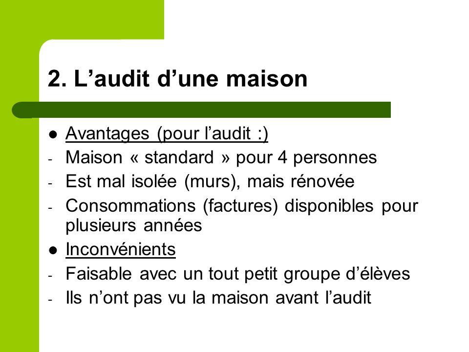 2. Laudit dune maison Avantages (pour laudit :) - Maison « standard » pour 4 personnes - Est mal isolée (murs), mais rénovée - Consommations (factures