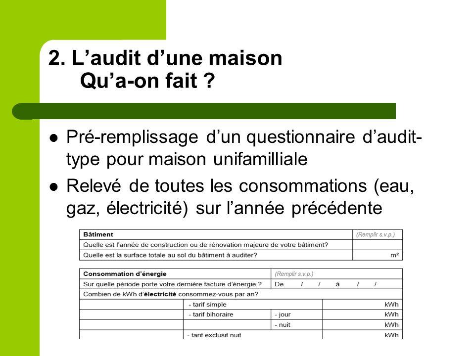 2. Laudit dune maison Qua-on fait ? Pré-remplissage dun questionnaire daudit- type pour maison unifamilliale Relevé de toutes les consommations (eau,
