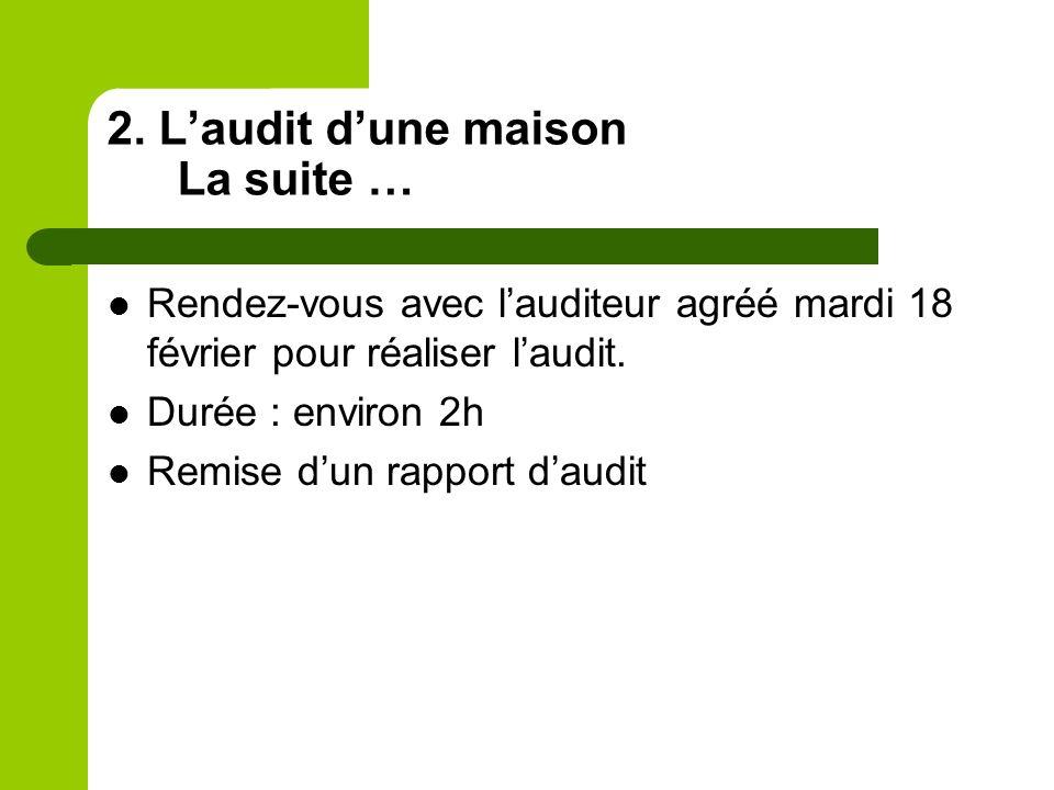 2. Laudit dune maison La suite … Rendez-vous avec lauditeur agréé mardi 18 février pour réaliser laudit. Durée : environ 2h Remise dun rapport daudit