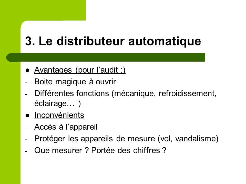 3. Le distributeur automatique Avantages (pour laudit :) - Boite magique à ouvrir - Différentes fonctions (mécanique, refroidissement, éclairage… ) In
