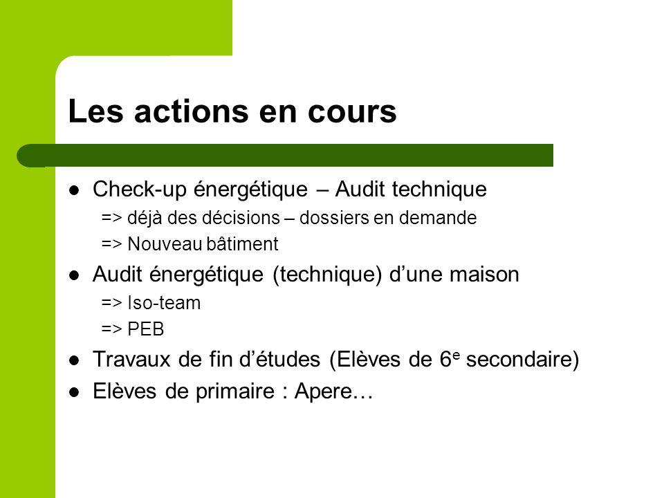 Les actions en cours Check-up énergétique – Audit technique => déjà des décisions – dossiers en demande => Nouveau bâtiment Audit énergétique (technique) dune maison => Iso-team => PEB Travaux de fin détudes (Elèves de 6 e secondaire) Elèves de primaire : Apere…