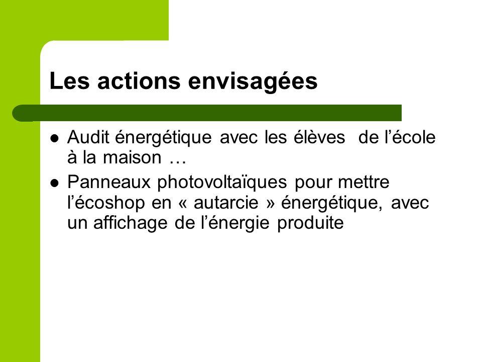 Les actions envisagées Audit énergétique avec les élèves de lécole à la maison … Panneaux photovoltaïques pour mettre lécoshop en « autarcie » énergétique, avec un affichage de lénergie produite