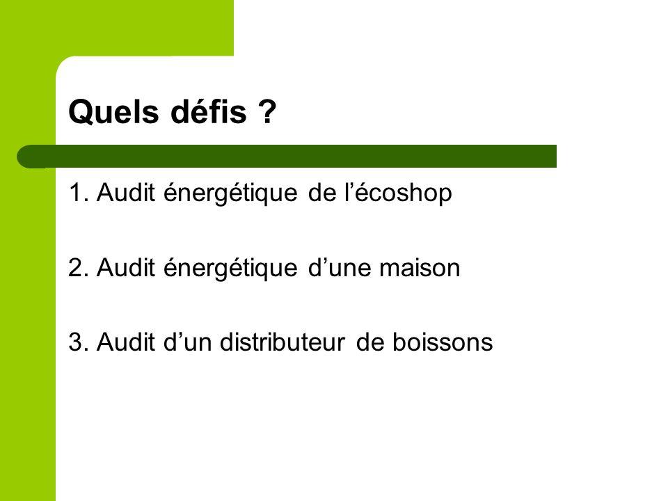 Quels défis ? 1. Audit énergétique de lécoshop 2. Audit énergétique dune maison 3. Audit dun distributeur de boissons