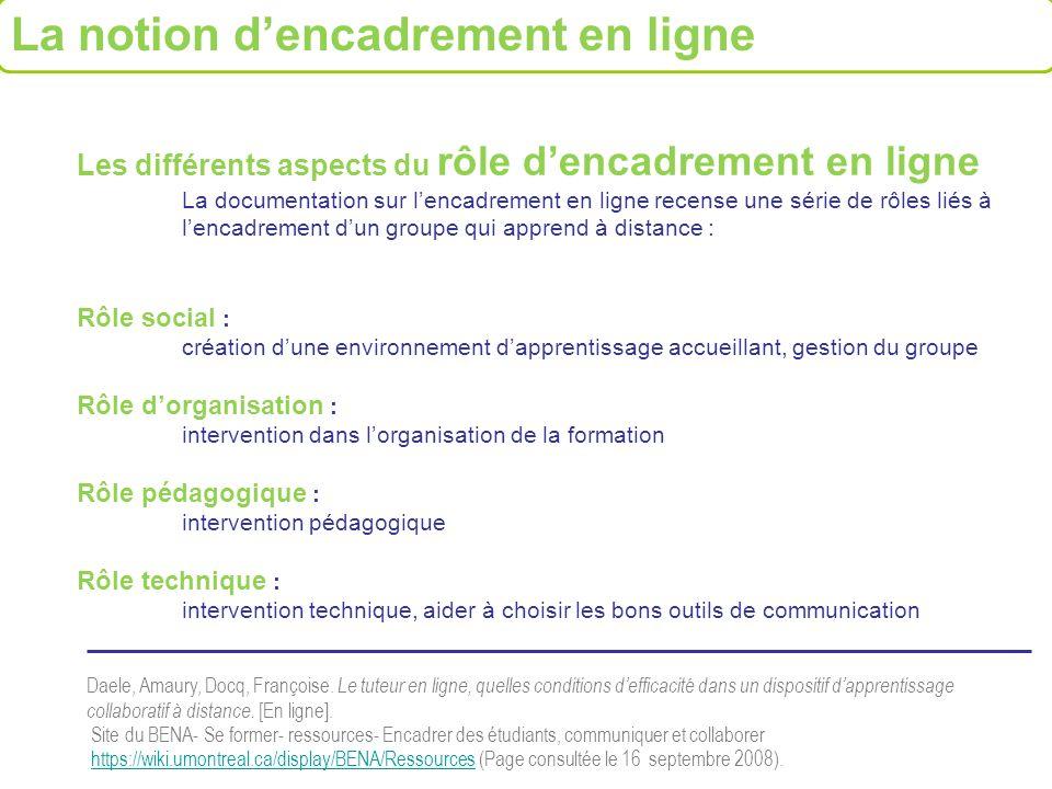 Les différents aspects du rôle dencadrement en ligne La documentation sur lencadrement en ligne recense une série de rôles liés à lencadrement dun gro