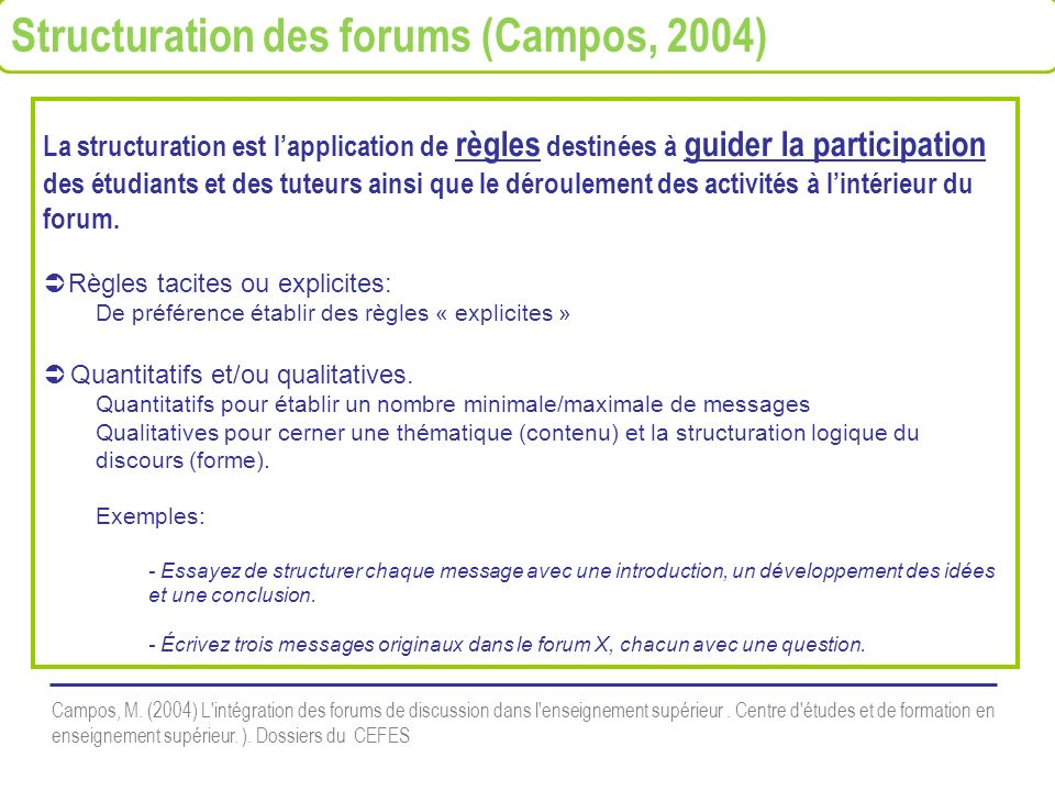 La structuration est lapplication de règles destinées à guider la participation des étudiants et des tuteurs ainsi que le déroulement des activités à