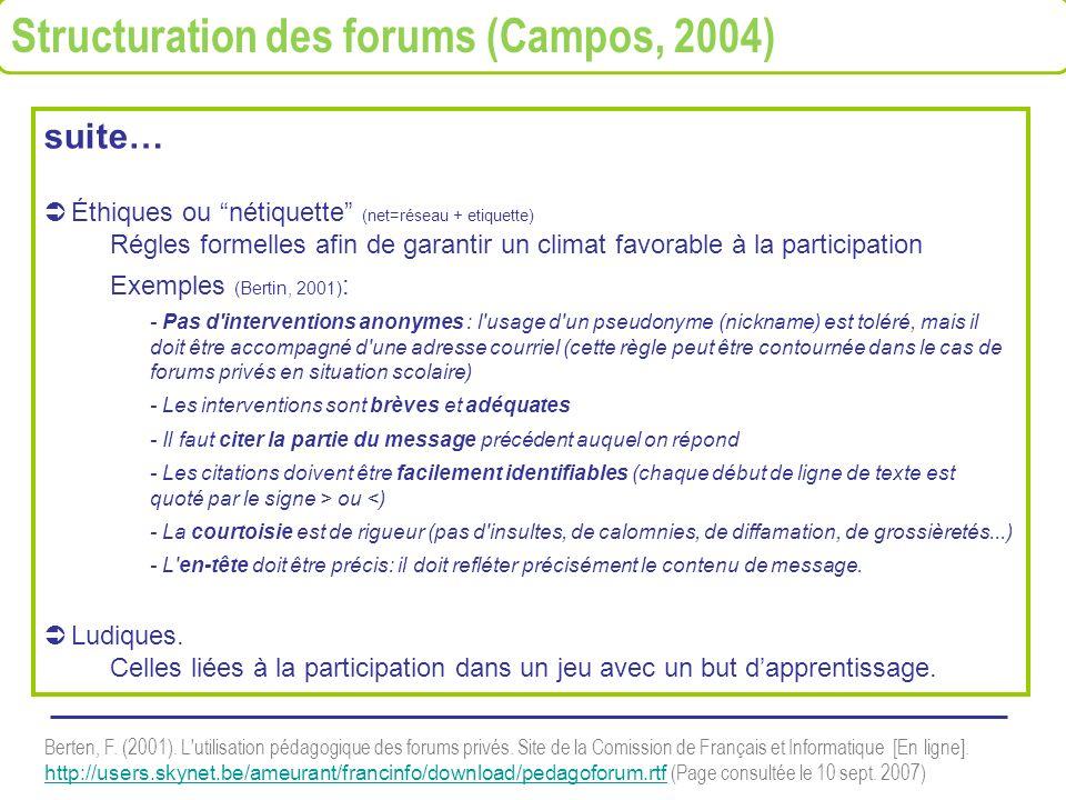 suite… Éthiques ou nétiquette (net=réseau + etiquette) Régles formelles afin de garantir un climat favorable à la participation Exemples (Bertin, 2001
