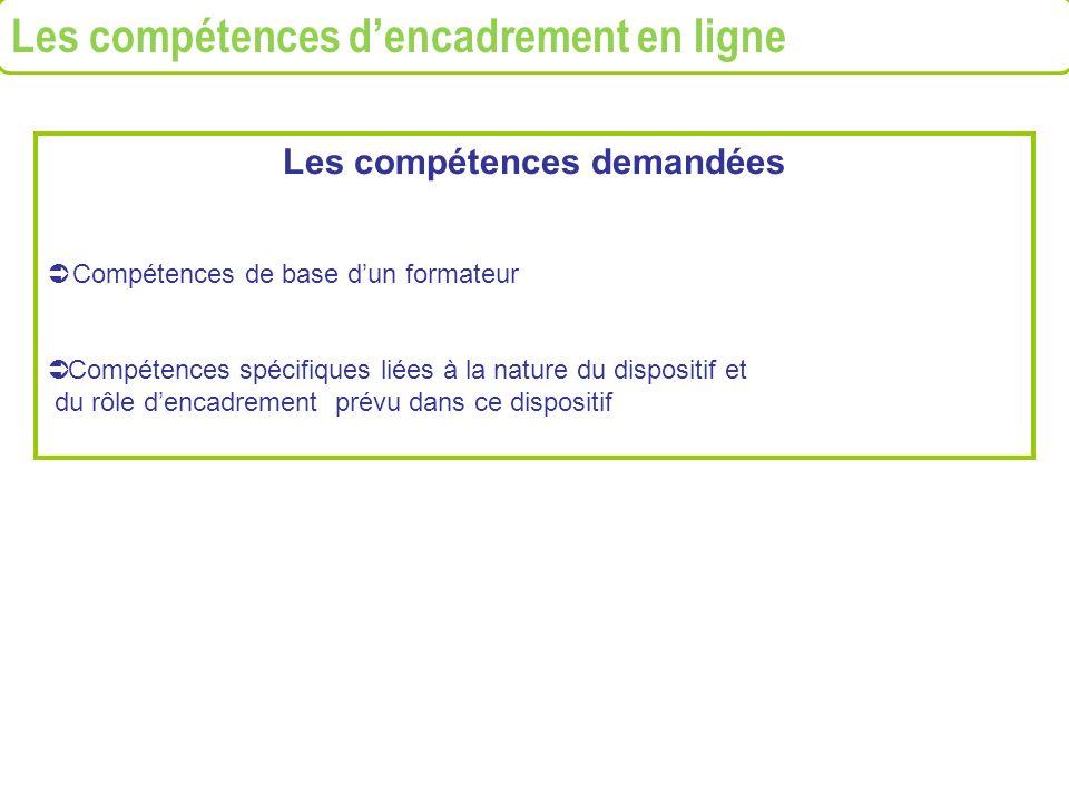 Les compétences demandées Compétences de base dun formateur Compétences spécifiques liées à la nature du dispositif et du rôle dencadrement prévu dans