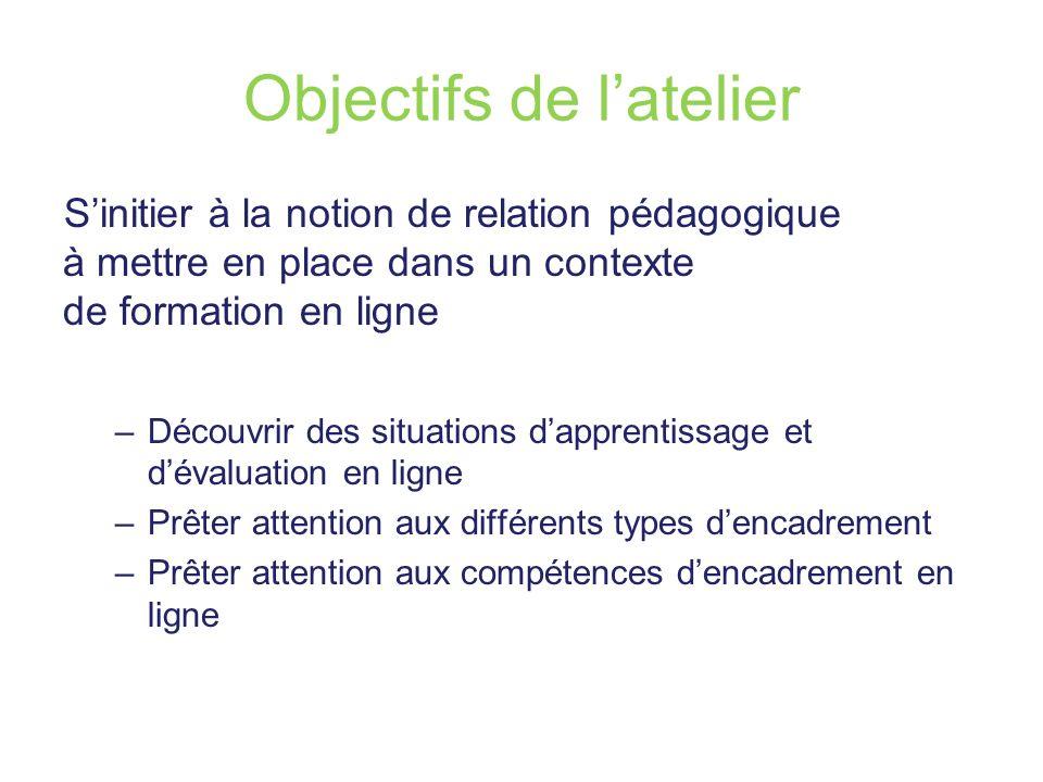 Objectifs de latelier Sinitier à la notion de relation pédagogique à mettre en place dans un contexte de formation en ligne –Découvrir des situations