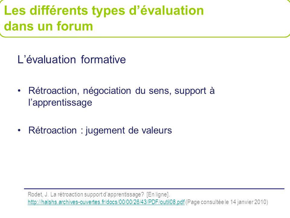 Lévaluation formative Rétroaction, négociation du sens, support à lapprentissage Rétroaction : jugement de valeurs Les différents types dévaluation da