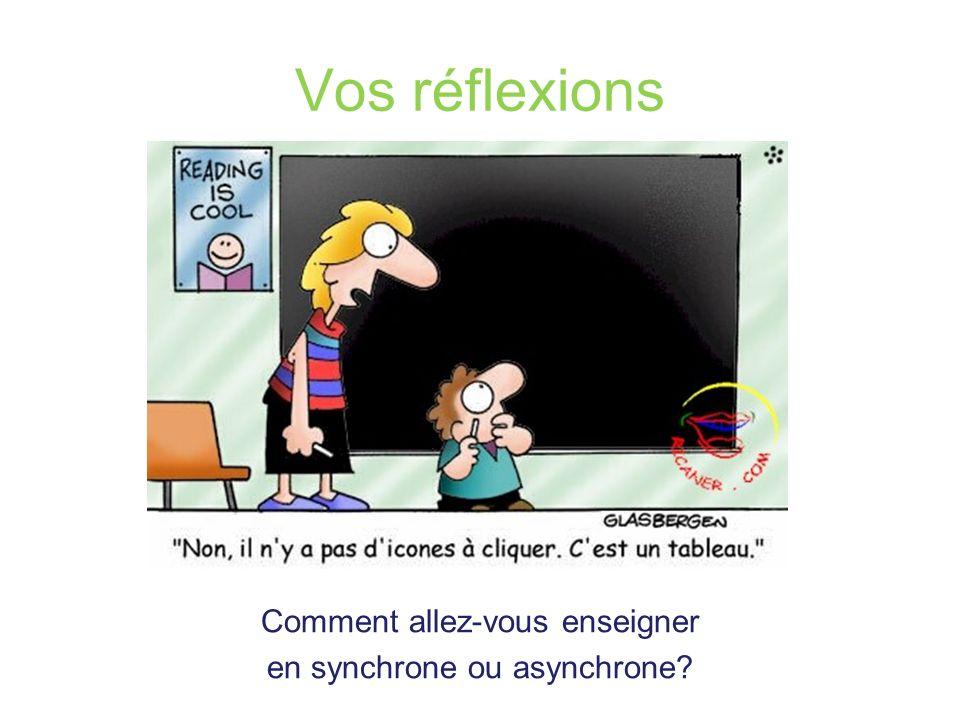 Vos réflexions Comment allez-vous enseigner en synchrone ou asynchrone?