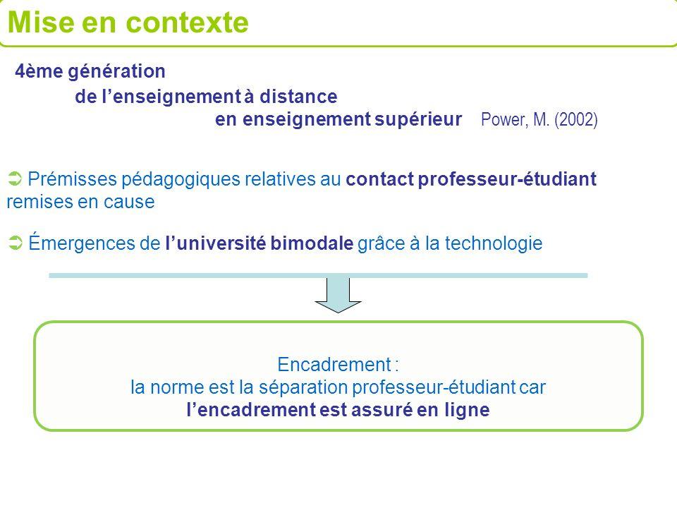 4ème génération de lenseignement à distance en enseignement supérieur Power, M. (2002) Émergences de luniversité bimodale grâce à la technologie Prémi