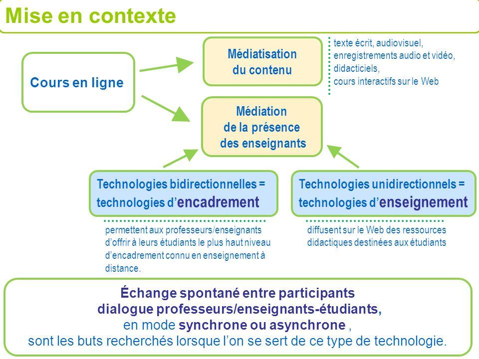 Médiatisation du contenu Échange spontané entre participants dialogue professeurs/enseignants-étudiants, en mode synchrone ou asynchrone, sont les but