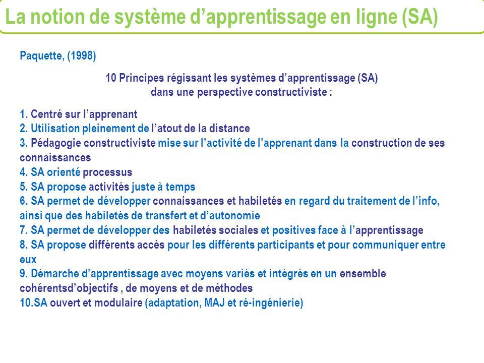 Paquette, (1998) 10 Principes régissant les systèmes dapprentissage (SA) dans une perspective constructiviste : 1. Centré sur lapprenant 2. Utilisatio