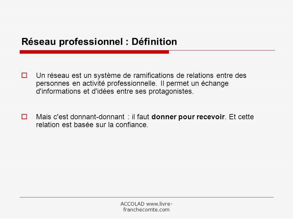 ACCOLAD www.livre- franchecomte.com Réseau professionnel : Définition Un réseau est un système de ramifications de relations entre des personnes en activité professionnelle.