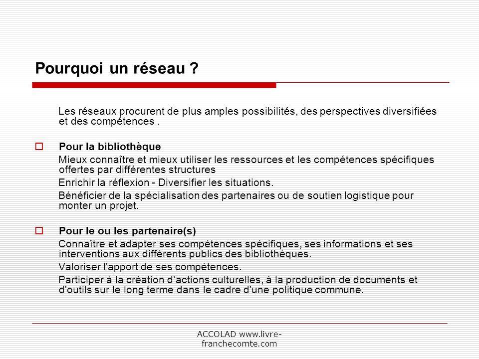 ACCOLAD www.livre- franchecomte.com Pourquoi un réseau .