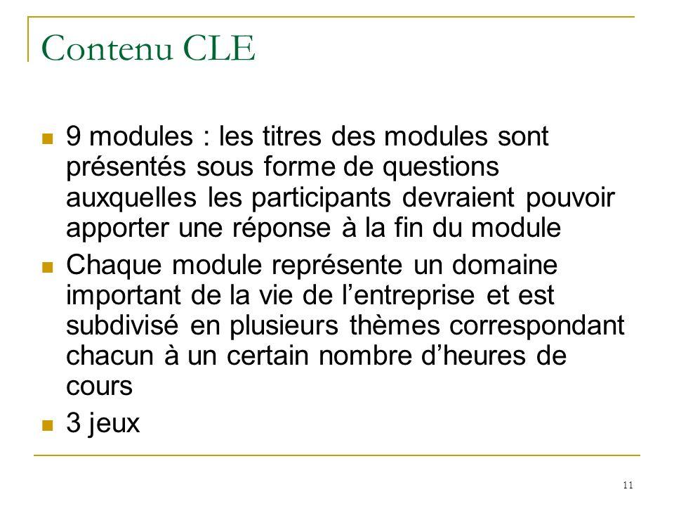 11 Contenu CLE 9 modules : les titres des modules sont présentés sous forme de questions auxquelles les participants devraient pouvoir apporter une réponse à la fin du module Chaque module représente un domaine important de la vie de lentreprise et est subdivisé en plusieurs thèmes correspondant chacun à un certain nombre dheures de cours 3 jeux