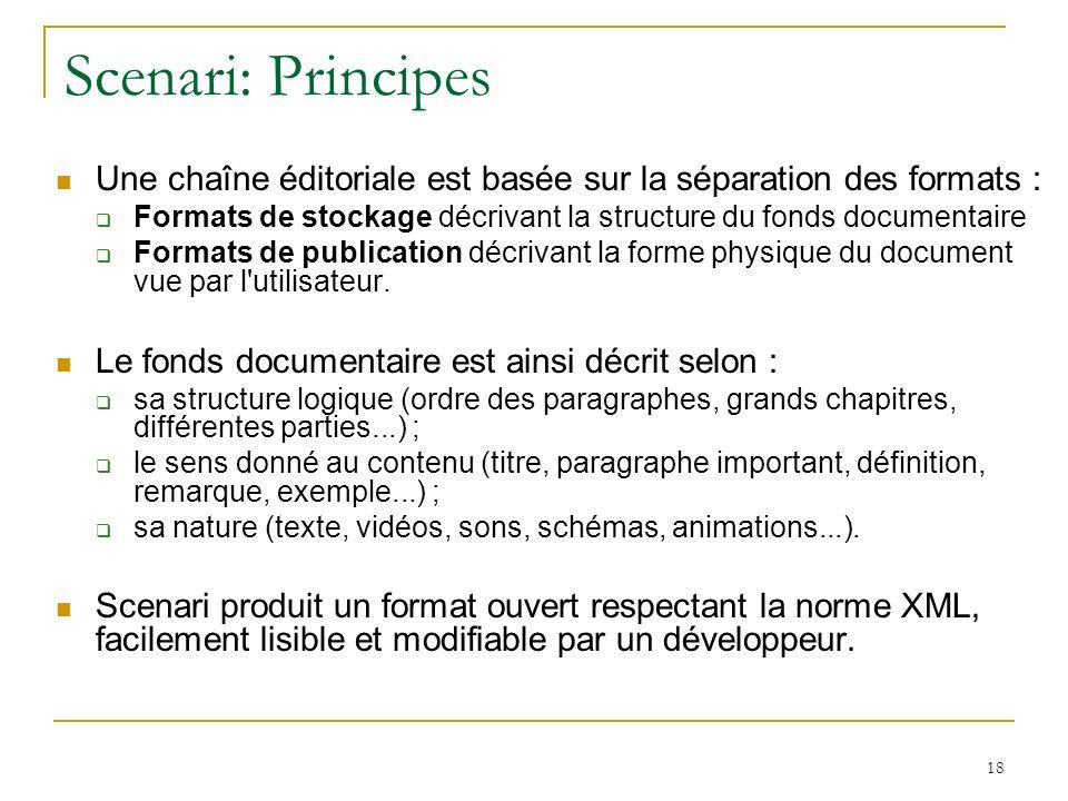 Scenari: Principes Une chaîne éditoriale est basée sur la séparation des formats : Formats de stockage décrivant la structure du fonds documentaire Formats de publication décrivant la forme physique du document vue par l utilisateur.