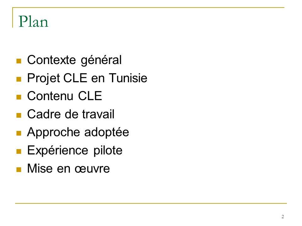 2 Plan Contexte général Projet CLE en Tunisie Contenu CLE Cadre de travail Approche adoptée Expérience pilote Mise en œuvre