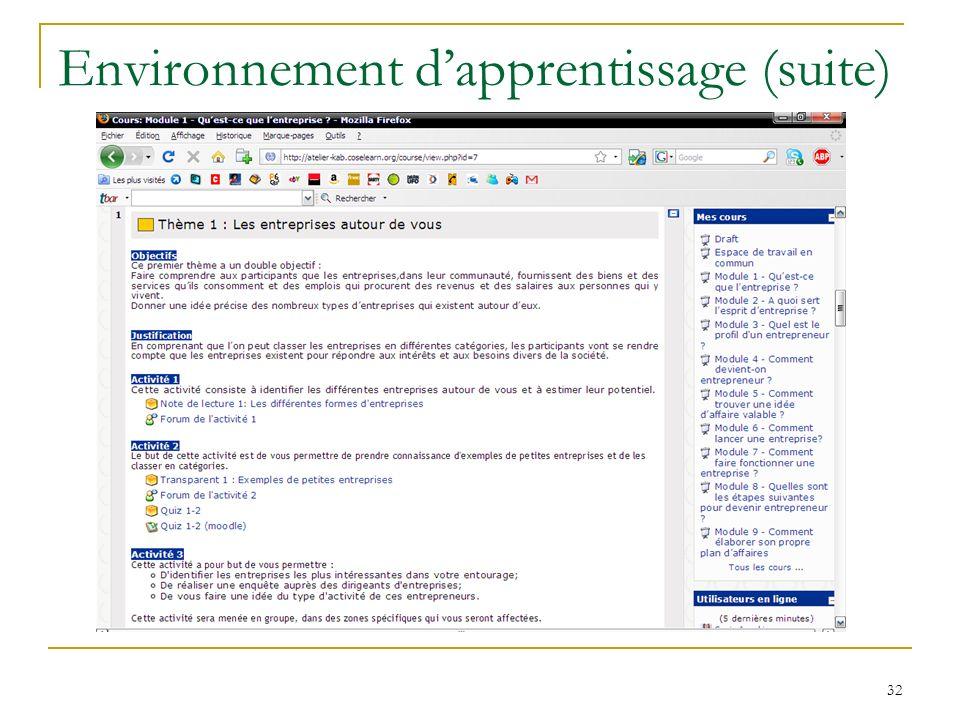 Environnement dapprentissage (suite) 32