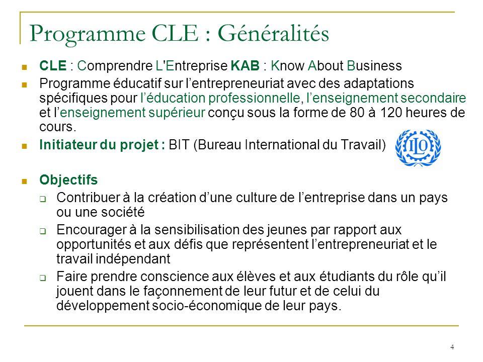 4 Programme CLE : Généralités CLE : Comprendre L Entreprise KAB : Know About Business Programme éducatif sur lentrepreneuriat avec des adaptations spécifiques pour léducation professionnelle, lenseignement secondaire et lenseignement supérieur conçu sous la forme de 80 à 120 heures de cours.