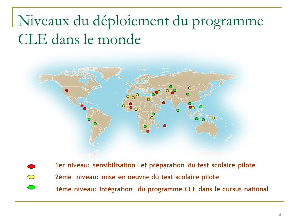 6 Niveaux du déploiement du programme CLE dans le monde 1er niveau: sensibilisation et préparation du test scolaire pilote 2ème niveau: mise en oeuvre du test scolaire pilote 3ème niveau: intégration du programme CLE dans le cursus national