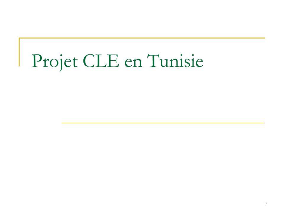 8 Projet CLE en Afrique du Nord Couverture géographique : Tunisie, Algérie, Maroc, Egypte Démarrage du projet : Janvier 2008 Objectif visé: Tests pilotes de la Formation à lentrepreneuriat dans l enseignement secondaire, professionnel et supérieur Résultats attendus : Développer une capacité nationale de formateurs et denseignants CLE dans les quatre pays Offrir la formation CLE dans chacun des pays dans au moins 20 écoles ou centres de formation et quatre universités Former au moins 8,000 étudiants et élèves globalement avec CLE Établir un réseau régional des utilisateurs du programme CLE
