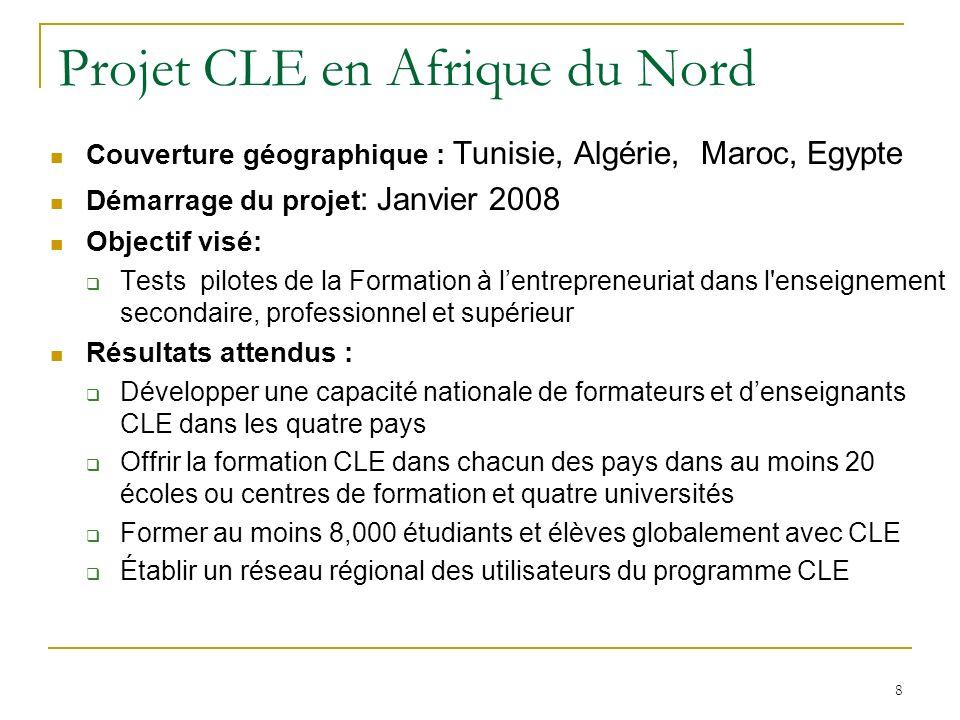 9 Projet CLE en Tunisie CLE pour léducation nationale 25 centres de formation professionnelle 25 lycées secondaires Niveau : 1 ère année secondaire et équivalent dans les centres de formation CLE pour lenseignement supérieur Démarrage du projet : Juillet 2008 Nombre duniversités : 4 Nombre détudiants : 1000 Nombre de tuteurs : 23