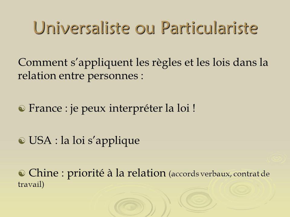 Universaliste ou Particulariste Comment sappliquent les règles et les lois dans la relation entre personnes : France : je peux interpréter la loi .