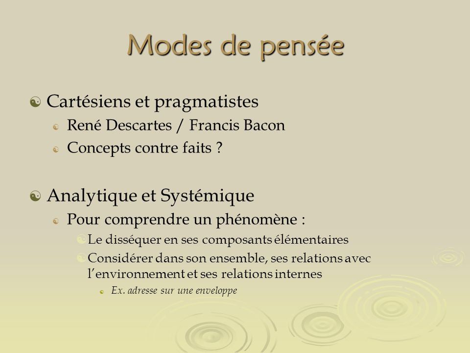 Modes de pensée Cartésiens et pragmatistes René Descartes / Francis Bacon Concepts contre faits .