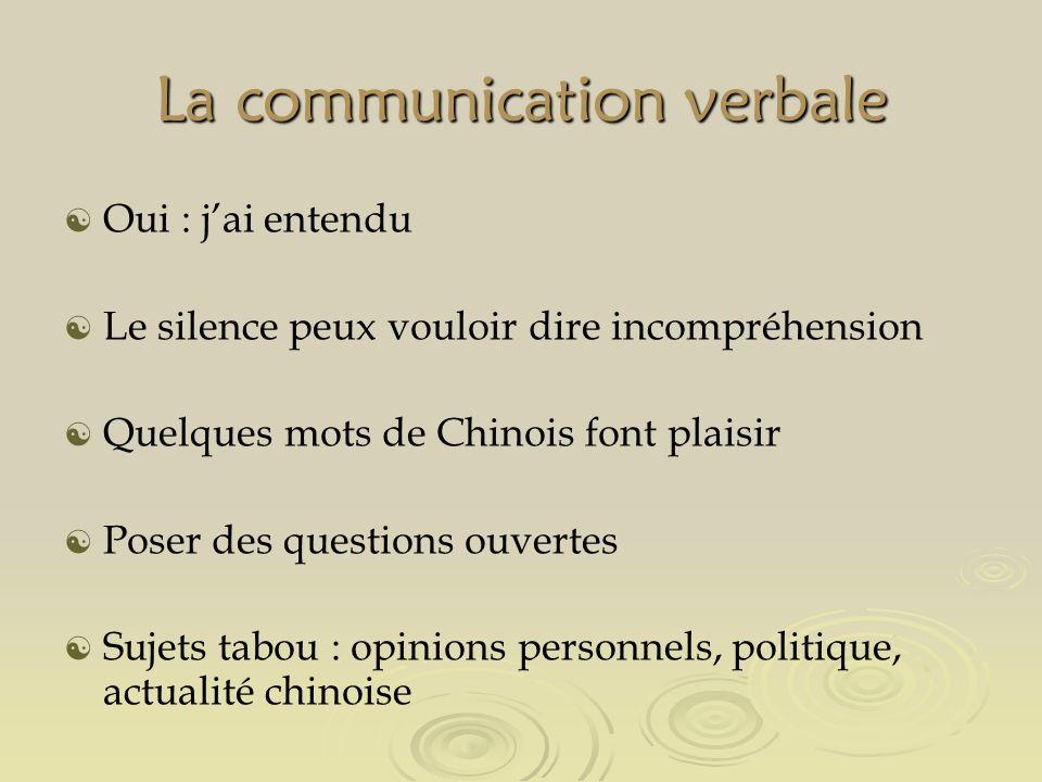 La communication verbale Oui : jai entendu Le silence peux vouloir dire incompréhension Quelques mots de Chinois font plaisir Poser des questions ouvertes Sujets tabou : opinions personnels, politique, actualité chinoise