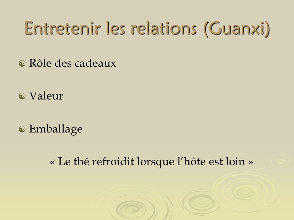 Entretenir les relations (Guanxi) Rôle des cadeaux Valeur Emballage « Le thé refroidit lorsque lhôte est loin »