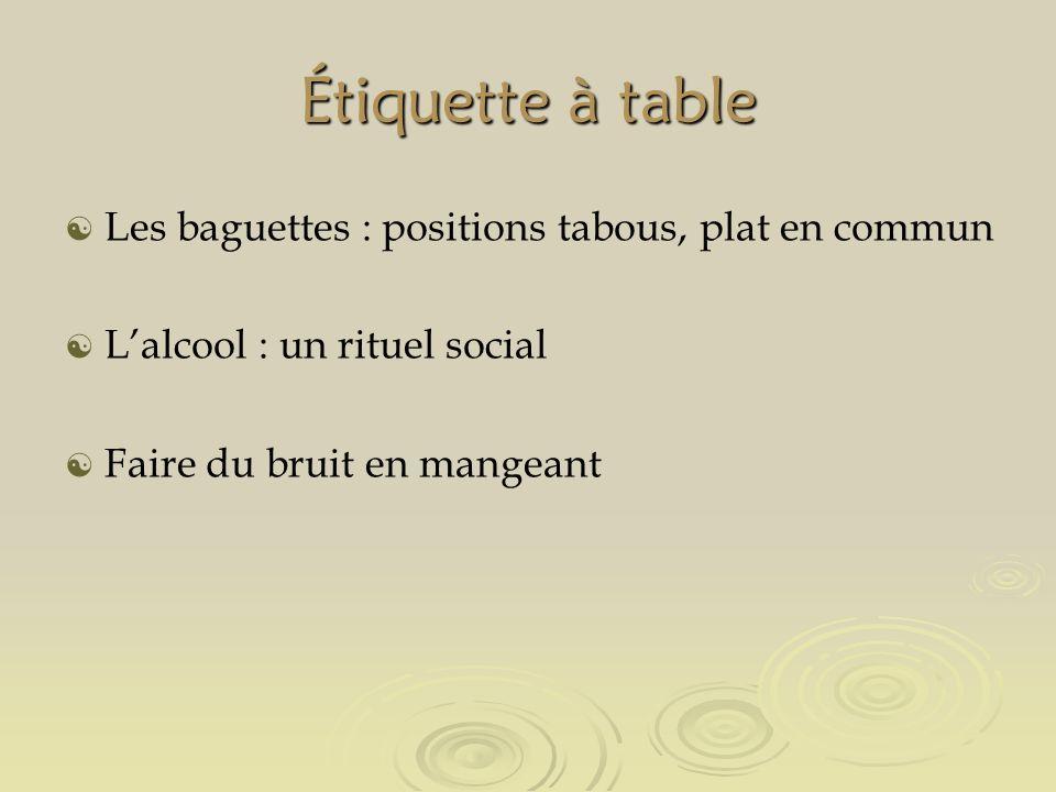 Étiquette à table Les baguettes : positions tabous, plat en commun Lalcool : un rituel social Faire du bruit en mangeant