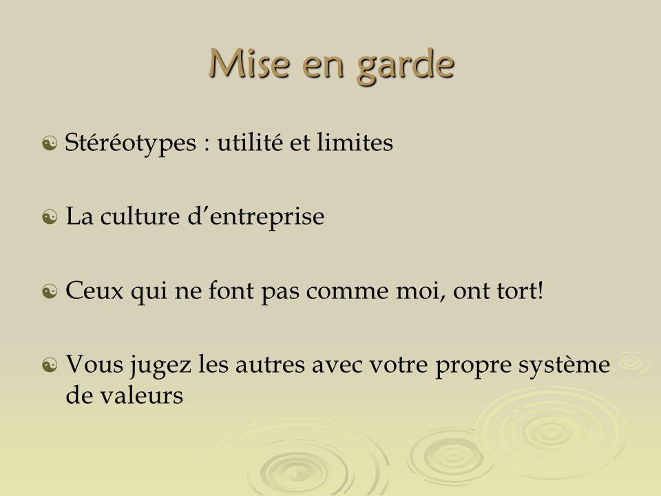 Mise en garde Stéréotypes : utilité et limites La culture dentreprise Ceux qui ne font pas comme moi, ont tort.