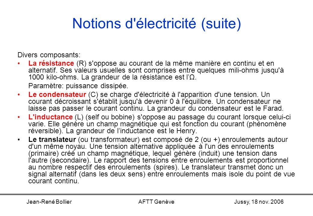 Jussy, 18 nov. 2006Jean-René BollierAFTT Genève Notions d'électricité (suite) Instruments de mesure Le multimètre –Peut mesurer les volts (DC et AC),