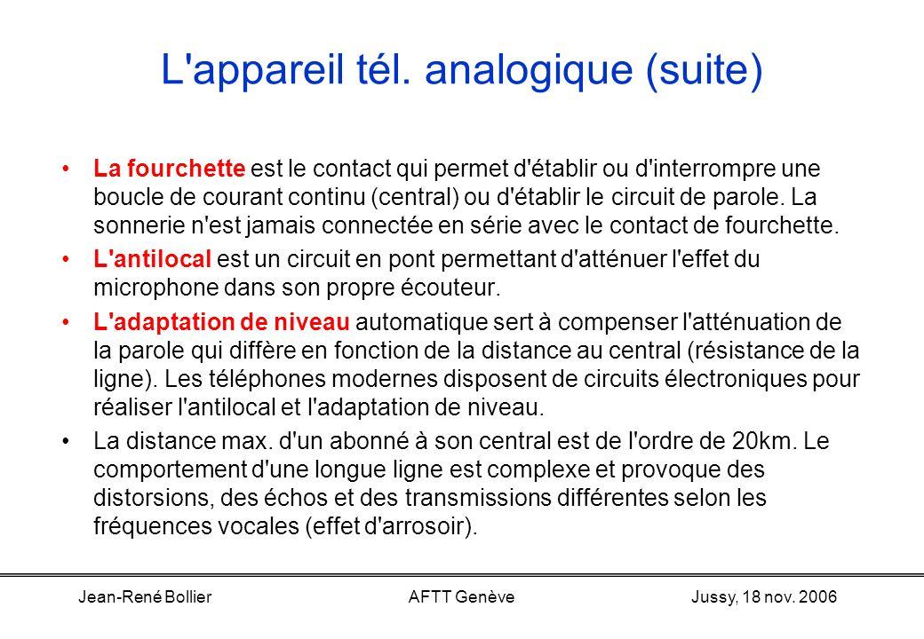 Jussy, 18 nov. 2006Jean-René BollierAFTT Genève L'appareil tél. analogique (suite) Batterie locale, batterie centrale. Un téléphone a toujours besoin
