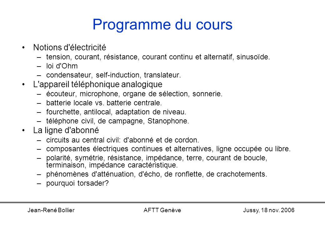 Jussy, 18 nov. 2006Jean-René BollierAFTT Genève Introduction à la téléphonie analogique. Objectif:Donner, en une après-midi de cours, des notions tech