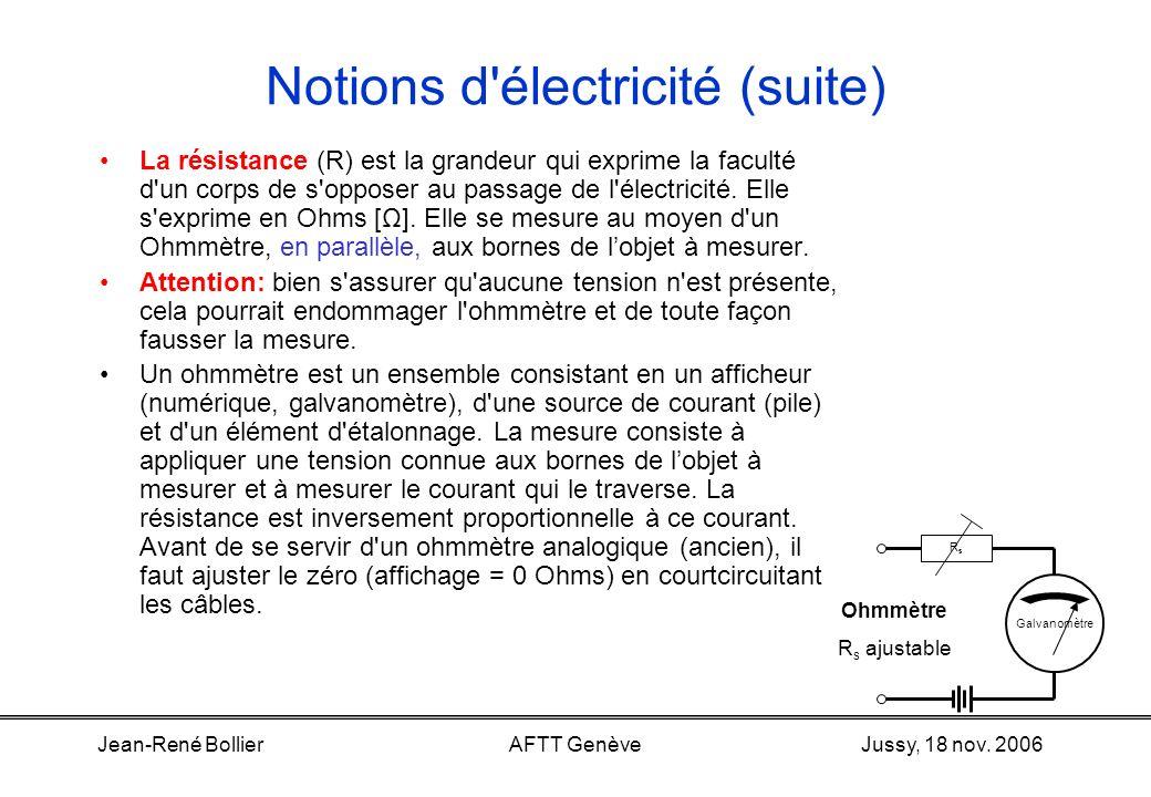 Jussy, 18 nov. 2006Jean-René BollierAFTT Genève Notions d'électricité Une tension (U) se mesure entre deux points d'un circuit, en parallèle. Elle s'e