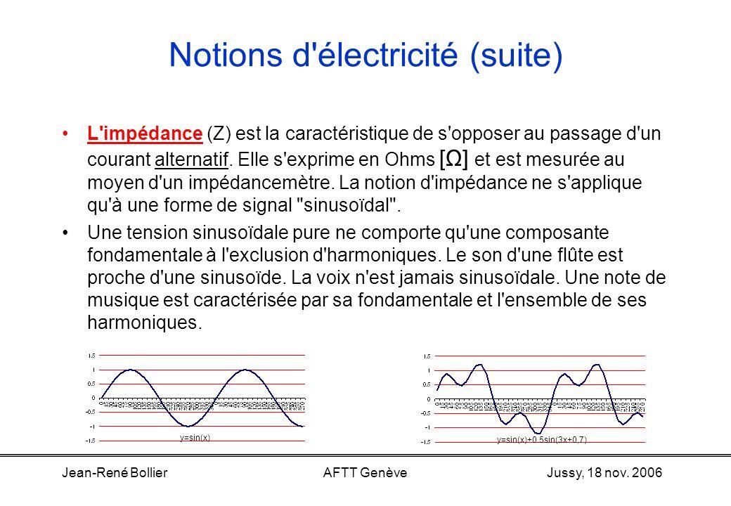 Jussy, 18 nov. 2006Jean-René BollierAFTT Genève Notions d'électricité (suite) Un courant (ou une tension) continu ne varie pas dans le temps. Il (elle