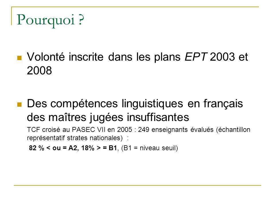 Pourquoi ? Volonté inscrite dans les plans EPT 2003 et 2008 Des compétences linguistiques en français des maîtres jugées insuffisantes TCF croisé au P