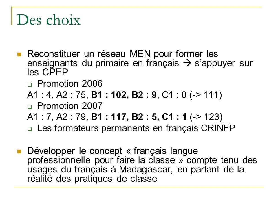 Des choix Reconstituer un réseau MEN pour former les enseignants du primaire en français sappuyer sur les CPEP Promotion 2006 A1 : 4, A2 : 75, B1 : 10