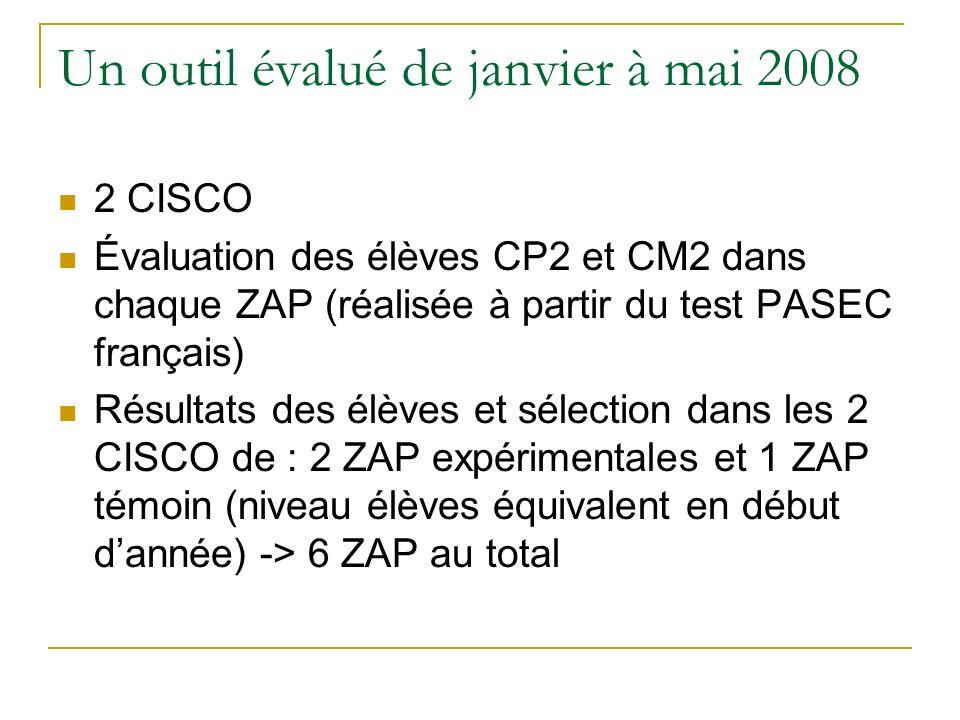 Un outil évalué de janvier à mai 2008 2 CISCO Évaluation des élèves CP2 et CM2 dans chaque ZAP (réalisée à partir du test PASEC français) Résultats de