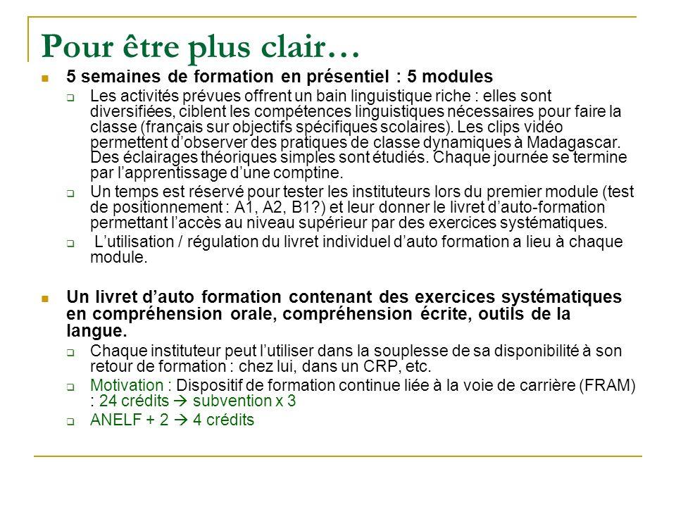 Formation des instituteurs en 2009 – 2011 dans les 19 CRINFP et des CRP 5 modules en présentiel : Module 1 : du 14 au 18 décembre 2009 Module 2 : du 12 au 16 avril 2010 Module 3 : du 26 au 30 juillet 2010 Module 4 : décembre 2010 Module 5 : avril 2011