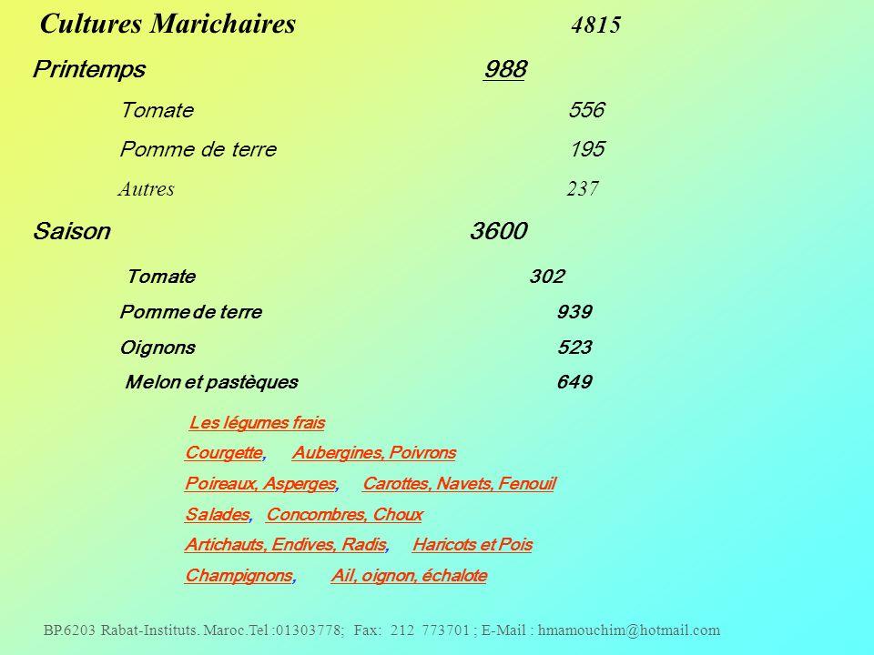 BP.6203 Rabat-Instituts. Maroc.Tel :01303778; Fax: 212 773701 ; E-Mail : hmamouchim@hotmail.com Cultures Marichaires 4815 Printemps 988 Tomate 556 Pom